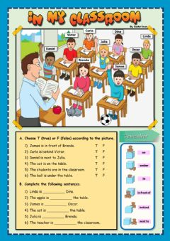 Interactive worksheet Prepositions of place - In my classroom