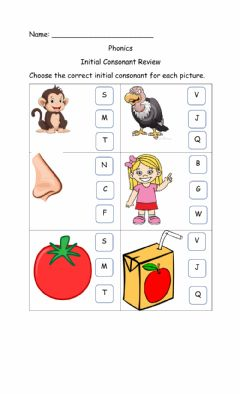 Interactive worksheet Initial Consonant