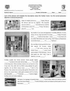 Interactive worksheet At home: Possessive Adjectives and Possessive Pronouns