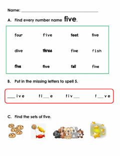Interactive worksheet Number 5 - name and sets