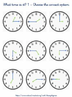 Ficha interactiva What Time is it? 1 - Choose