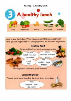Ficha interactiva Reading - A healthy lunch