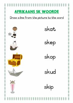 Interactive worksheet Afrikaans sk spelling words