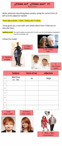 Interactive worksheet Frases con Adjetivos - -1