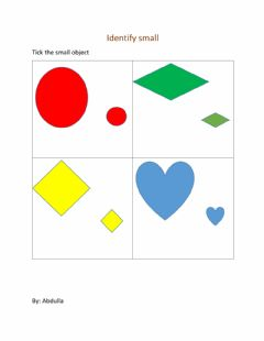 Interactive worksheet Identify the small object