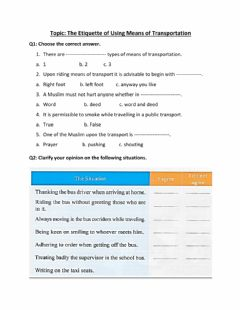 Interactive worksheet The Etiquette of Using Means of Transportation