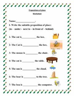 Interactive worksheet Prepostions of place