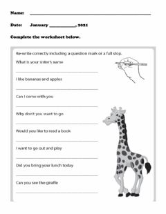 Interactive worksheet Full stop and Question mark