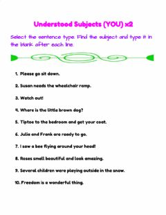 Interactive worksheet Understood Subjects (YOU) x2