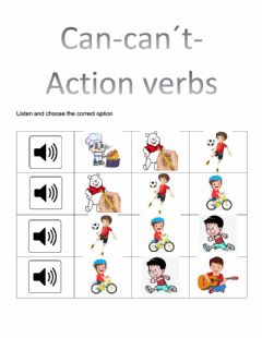 Interactive worksheet Can-can't-action verbs