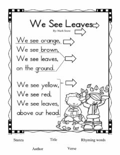 Interactive worksheet Parts of a Poem