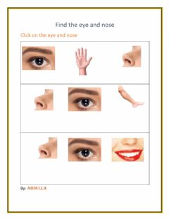 Ficha interactiva Point eye and nose