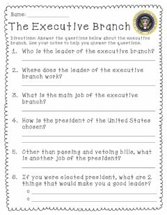 Interactive worksheet The Executive Branch