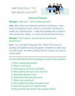 Interactive worksheet About Me Interview Dialogue