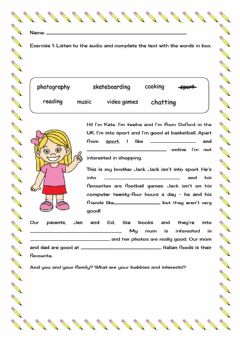 Ficha interactiva English Year 5 Starter Unit: Kate's hobbies and interest