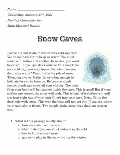 Interactive worksheet Snow Caves