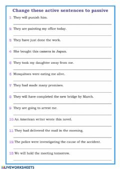 Interactive worksheet Active and Passive Voice