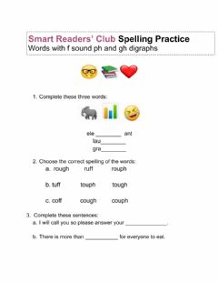 Interactive worksheet F Sound Digraph Ph Gh