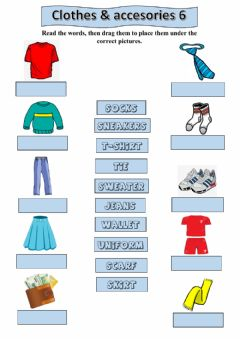 Interactive worksheet Clothes 6