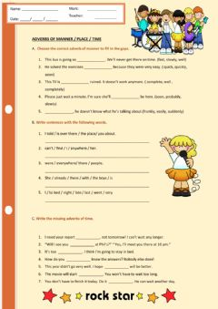 Ficha interactiva Adverbs of time, place and manner