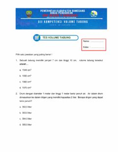 Interactive worksheet Tes volume tabung