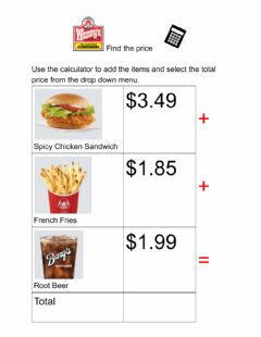 Interactive worksheet Find the Price Wendys 3