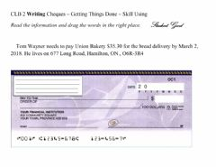 Interactive worksheet Writing Cheques