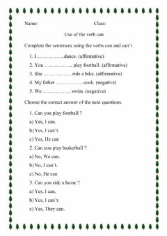 Interactive worksheet Use of verb can and can't