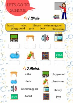 Interactive worksheet Let's go to school