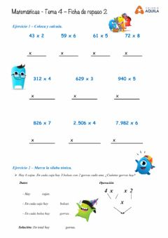 Interactive worksheet Multiplicación por una cifra
