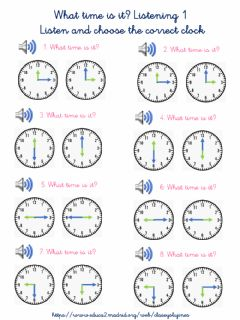 Interactive worksheet What Time is it? Listening 1