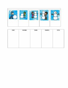 Interactive worksheet Sequencing: 5 step snowman