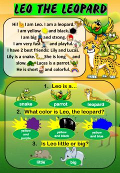 Interactive worksheet Leo the leopard - Reading Comprehension
