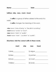 Interactive worksheet Suffixes -ship, -ment, -ness, -hood