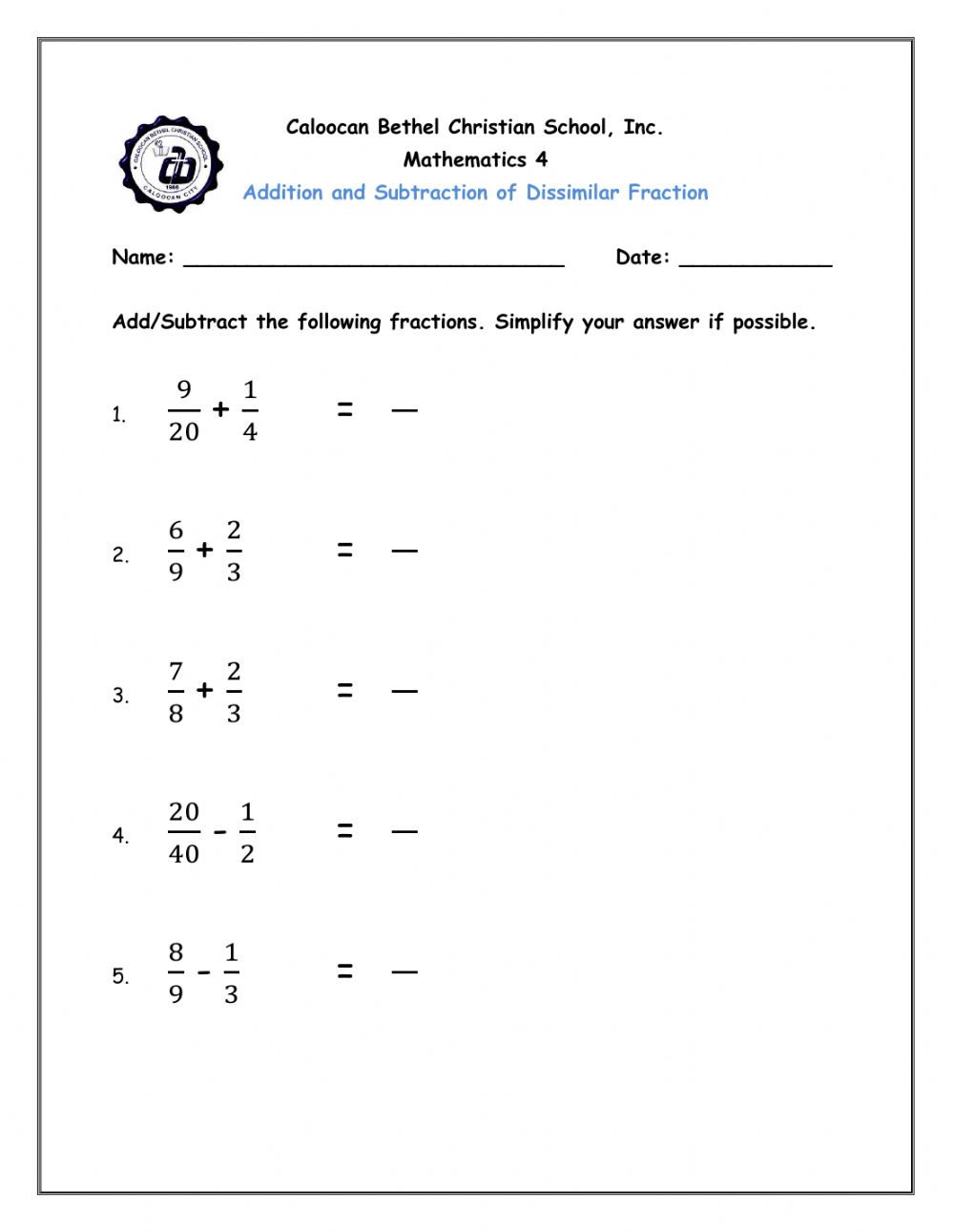 Addition And Subtraction Of Dissimilar Fraction Worksheet Adding dissimilar fractions worksheet