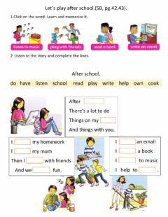 Interactive worksheet Let's play after school.Song.