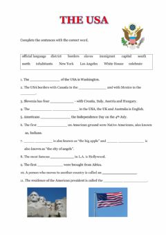 Interactive worksheet The USA