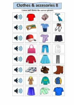 Interactive worksheet Clothes and accesories 8