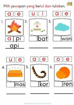 Interactive worksheet BM : Huruf Vokal 3 (6thn)
