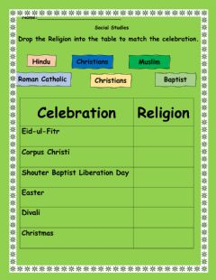 Interactive worksheet Religious Holidays in Trinidad and Tobago
