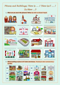 Interactive worksheet Buildings and places- there is