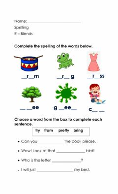 Interactive worksheet R- Blends
