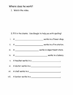 Interactive worksheet Where does he work