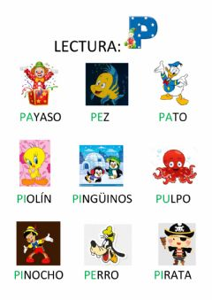 Interactive worksheet Letra p -vocabulario