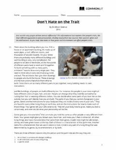 Interactive worksheet Don't Hate on the Trait
