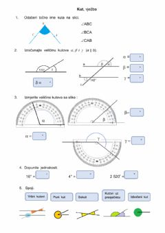 Interactive worksheet Kut, vjezba