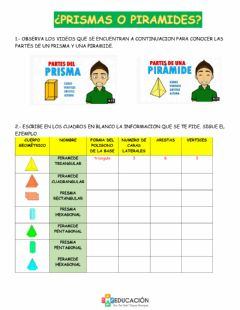 Interactive worksheet Prismas y piramides