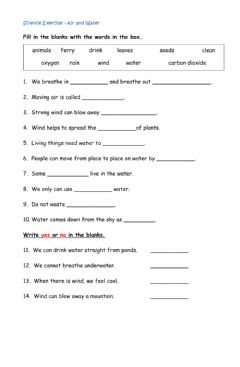 Interactive worksheet Science Exercise Air and Water
