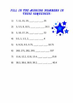 Interactive worksheet Number Sequences