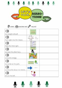 Interactive worksheet Giving Directions: Listen & Repeat